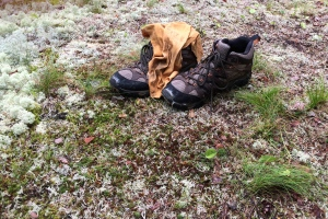 How can you lose your boots and a shirt in the middle of the trail?  Some one did.