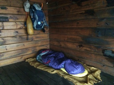 My gear set up in Woods Hole shelter in Georgia.