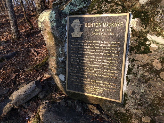 Springer Mountain memorial to Benton McKaye who envisioned a hiking trail along the spine of the Appalachian Mountains from Maine to Georgia.