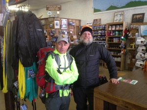 Sisu and Winter Walker in Mount Rogers Outfitters, Damascus, VA in Dec. 2013