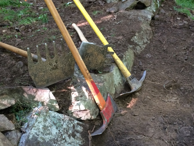 Four basic tools of the trail maintenance and forest fire trade.  From the left: Mcloed, Pulaski, Rogue hoe, pick mattock.  Add a five gallon plastic bucket, a shovel, a pruning saw and you've pretty much got the whole set.